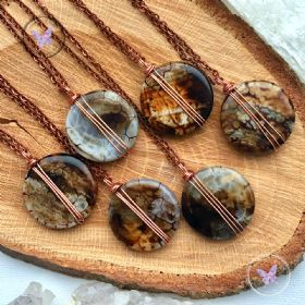 Leopard Agate Coin Pendant Necklace